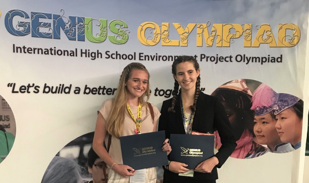 Genius Olympiad - 1200 competitors from 72 countries! Kaitlin Cohen brings home honorable Mention and Sarah Broas, 2nd Place!