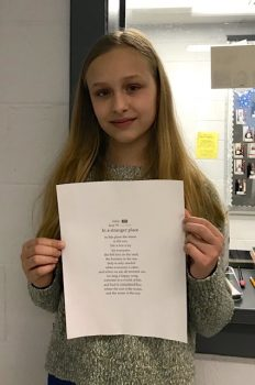 In honor of National Poetry Month, Izabella Walther read an original piece to the school today. Here is Izabella and her poem: