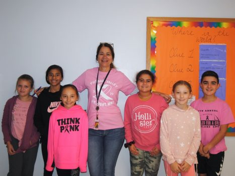 PVMS students and staff show their support to find a cure for Breast Cancer by wearing pink!