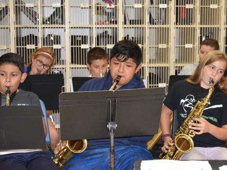 PVMS clubs are in full swing. Here are a few musicians participating in our 5/6 Jazz Band club.