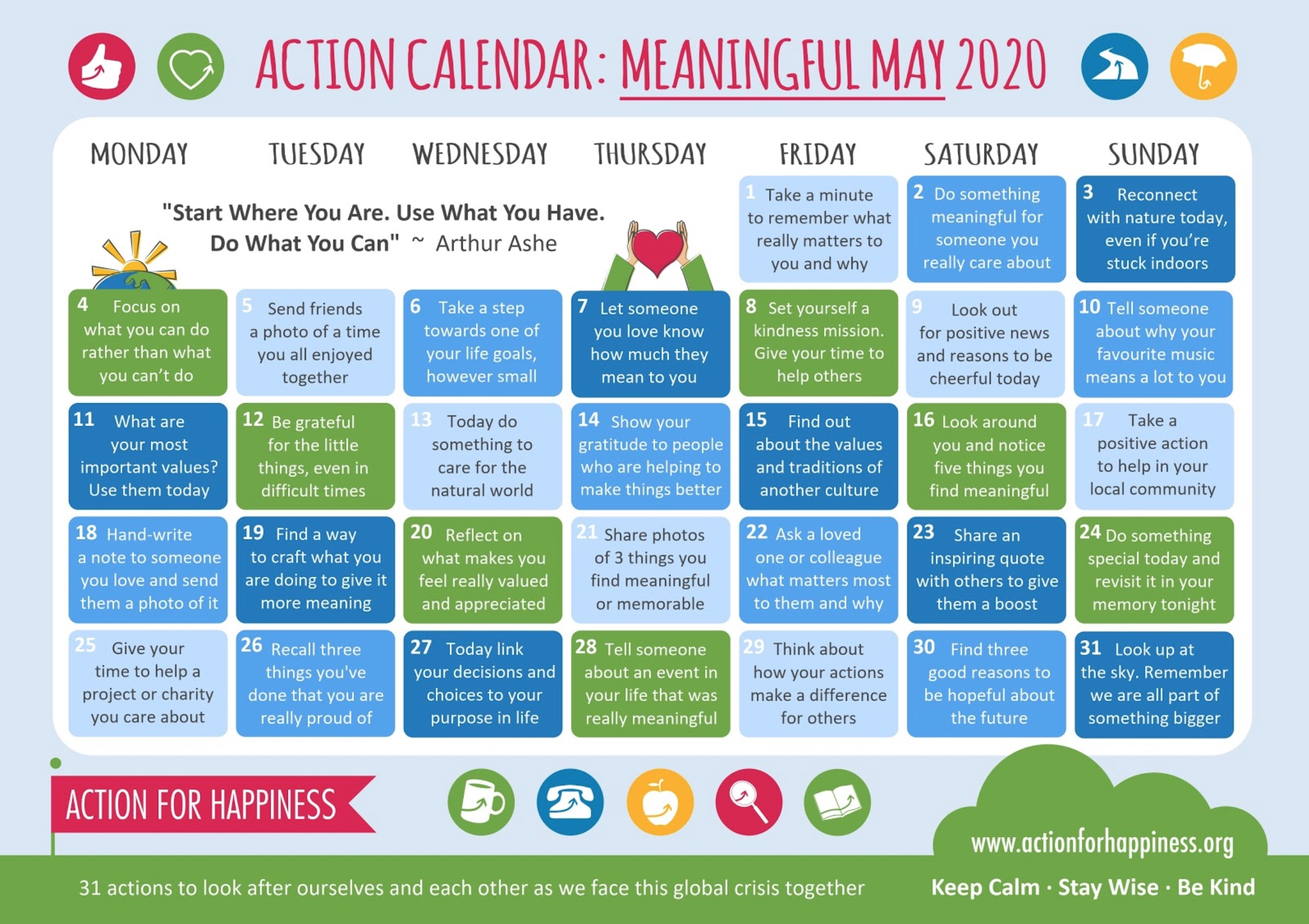 Action Calendar: Meaningful May