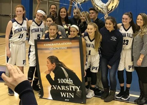 Congratulations Girls Basketball Coach Dini on 100 Varsity Wins