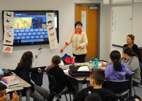PVMS Mandarin Chinese Distance Learning teacher, Ping Moroney, makes a visit to PVMS to hold class in person and celebrate Chinese New Year.